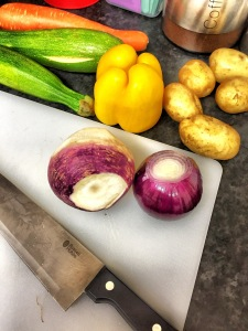 vegetables, purple onions, courgette, cutting board