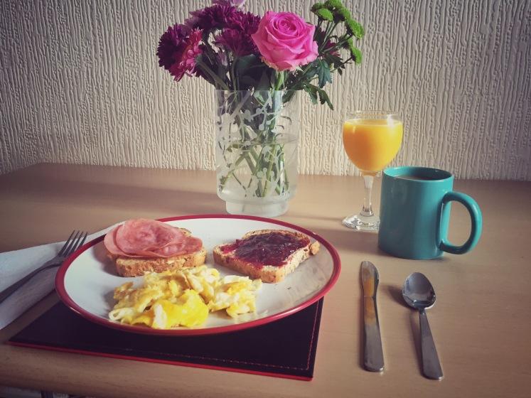 sunday breakfast, colorful, flowers, orange juice