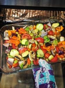 cooking, vegetables, pork chops
