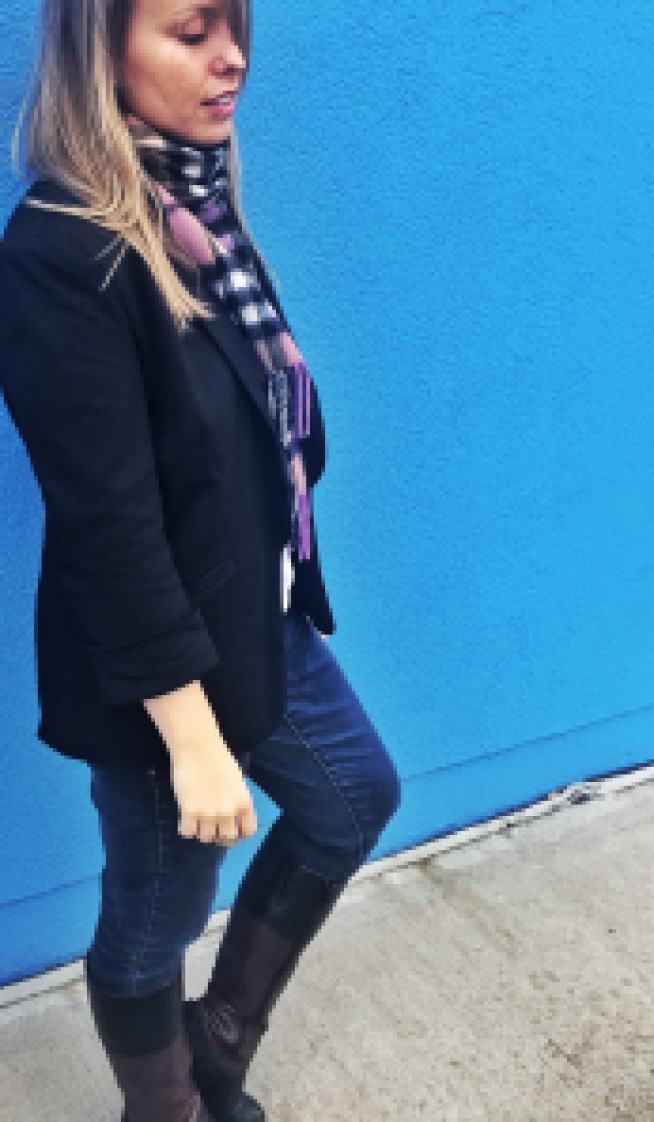 fall outfit jeans scarf blazer boots outfit of the day