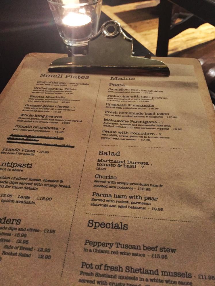 ecco vino menu